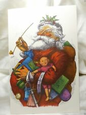 Holiday Seasonal Card Christmas Rhyme Greeting Jolly Santa Claus Toy Vintage