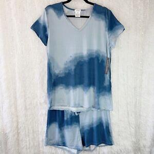 NEW Pajama Set TShirt Top Sleep Shorts 2 Pc Women's 2X Lounge Wear Blue Tie Dye