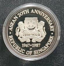 1967-1987  20th ASEAN Anniversary 10 Dollars Silver coin(+ FREE 1 coin)#D9112