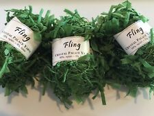 LOT of 3 Crystal Palace Yarns Fling 3536 Chard Green Paper Flag Metallic Sparkle