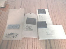 4 Vintage Copper Printing Plates Fishing/Camping/The BIG ONE w/Original Packages