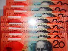 AUSTRALIA $20 2013 FIRST Prefix AA13 & LAST PREFIX DA13 MATCHING SERIALS *UNC*