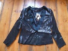 Kate Moss Lame Black Tuxedo Jacket 12 US 8 Topshop