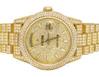 Rolex 18K Yellow Gold 18038 Day-Date President 36MM Diamond Watch 25.5 Ct