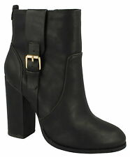 Ladies Anne Michelle Block Heel Ankle BOOTS F50648 Black UK 6 Standard