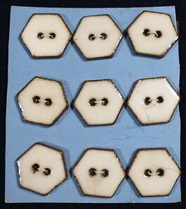 Vtg JHB International CARDED Ceramic Hexagon BUTTONS Chinook Brazil