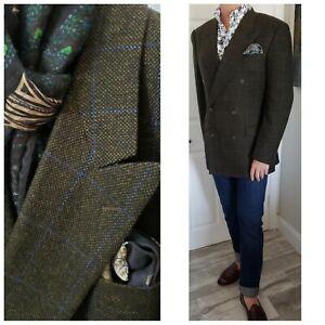 New$2495 Belvest Bespoke Slim Green Blue Plaid Cashmere Blazer Jacket Mens40 50E