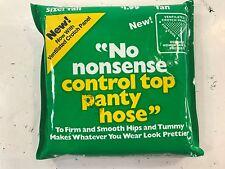 💗 NOS 💗 Vintage NO NONSENSE Control Top Pantyhose Sheer Toe, Tan, Sz TALL