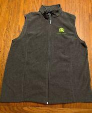 Mens XL John Deere X Lands End Gray Fleece Full Zip Sweater Vest