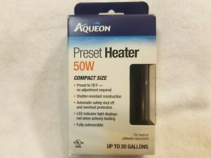 Aqueon Preset Heater 50W Compact Fresh or Saltwater Aquariums Up to 20 Gallons