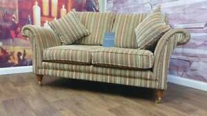 PARKER KNOLL BURGHLEY 2 SEATER SOFA IN BASLOW STRIPE GOLD RRP £1610