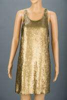 REISS Gold Sequin Strappy Mini Dress Size UK 8 Party Evening Cocktail Towie Glam