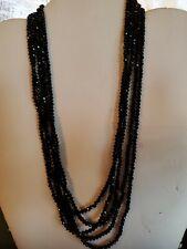 """Black Spinel 5 Strands Necklace 20"""" NWOT"""