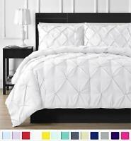 Luxury Designer Duvet Cover Pintuck White Bedding Set 100% Egyptian Cotton King