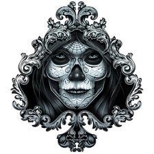 """""""Negro y Gris"""" Temporary Tattoo, Dia de los Muertos Sugar Skull Face in Spade"""