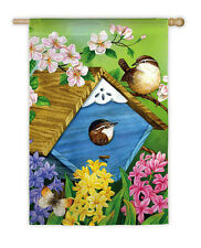 """Peaking From Nest Birds Butterfly Flowers Hyacinths Large House Flag 29"""" X 43"""""""