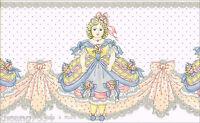 Victorian Vintage Antique Doll Pink Ribbon Bow Blue Dress Lace Wallpaper Border