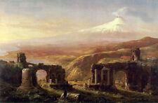 Art Oil painting Thomas cole - Mount Aetna from Taormina Great landscape canvas