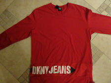 DKNY JEANS RED JERSEY SHIRT LONG SLEEVE ADULT M EXCELLENT FREE US SHIPPING