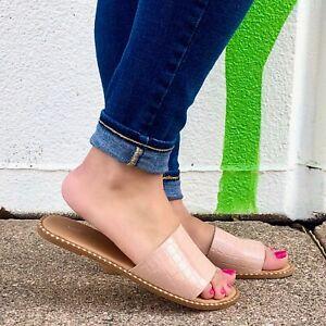 Tan Nude Croc Vegan Leather Sandals