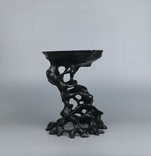 "stand display pedestal black wood China ebony root carved big wooden base 8.2""H"