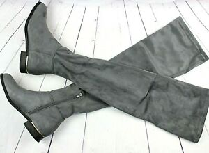 Womens Over The Knee Boots Long Zip Up Block Flat Heel Shoes Grey Faux Suede
