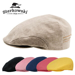 Sterkowski DERBY Linen Summer Flat Cap Applejack Gatsby Newsboy Ivy League
