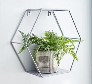 Grey Floating Wall Mounted Shelf Hexagonal Hanging Metal Wire Storage Unit