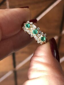 Vintage diamond and emerald triple flower cluster ring