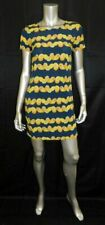 BANANA REPUBLIC Blue/Yellow Citrus Print Short Sleeve Back Zip A-line Dress sz 0