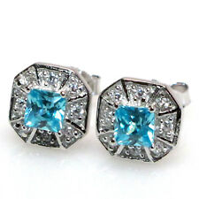 EXQUISITE EMERALD CUT AQUAMARINE 925 STERLING SILVER STUD EARRINGS