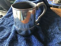 Antique large 1 Litre Polished Pewter Tankard with Monogram