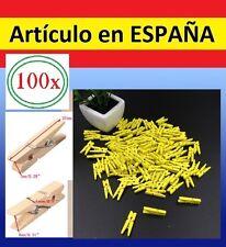100 MINI PINZAS de MADERA AMARILLAS fotos ropa fotografo clips papel colgar hilo