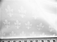 Discount Fabric Upholstery Drapery Twill Jacquard Fleur de Lis White DR39
