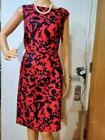 NEW HOBBS PATTERNED DRESS SIZE UK 18 US 14 RED BLACK 52% SILK 48% WOOL