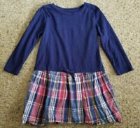 LANDS END Navy Blue and Plaid Long Sleeved Dress Girls Size 4T