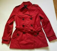 COACH JACKET DOUBLE BREASTED BELTED PEA COAT TRENCH BUTTON LINED RED SIZE XS