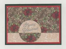 Blank Handmade Greeting Card ~ MERRY CHRISTMAS with POINSETTIA FLOWERS & SWIRLS