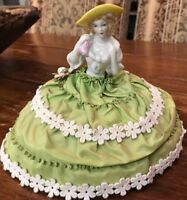 Antique porcelain Victorian Lady Dresser Pin Cushion 5 Inch Tall 6 Inch Base