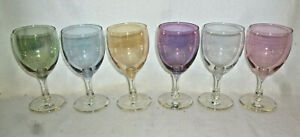 VINTAGE SET 6 RETRO COLOURED WINE GLASSES - excellent condition - 1960s