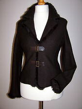 NWT GUARA UNIQUE DESIGNED VINTAGE STYLE TAILORED WOOL JACKET RABBIT FUR TRIM 12