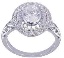 14k White Gold Oval Moissanite and Diamond Engagement Bridal Bezel Ring 1.25CTW