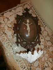 Antique Carved Wood Holy Water Font French Benitier~ Meerschaum Jesus Christ