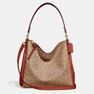 NWT COACH SHAY SIGNATURE COATED CANVAS AND  LEATHER SHOULDER BAG TAN RUST