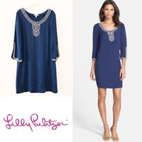 Lilly Pulitzer Sarah Embellished Navy Tunic Dress Size Small