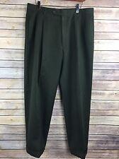 """Austin Reed London Super 100s Pleated Dress Pants Slacks 34"""" Waist Olive B33"""