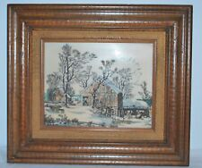 Currier & Ives Old Homestead in Winter Etching on Plastic Board Hand Painted