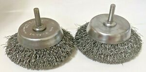 3-1/2 FINE CRIMPED WIRE CUP BRUSH 1/4 SHANK DRILL [5000RPM] 3.5 (QTY: 2) USA NOS