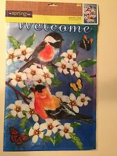"""Colorful  WELCOME Flag 18'' X 12"""". Birds, Flowers  Indoor/Outdoor-Double Sided"""