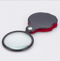 8X Glass Lens Pocket Magnifier with Leather Pouch Folding Magnifying Tool